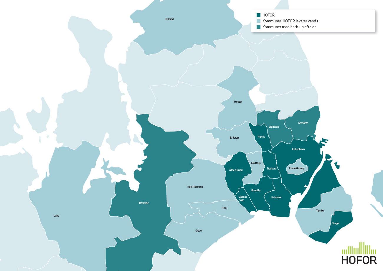 billede af sjælland inddelt i de kommuner som HOFOR leverer drikkevand til