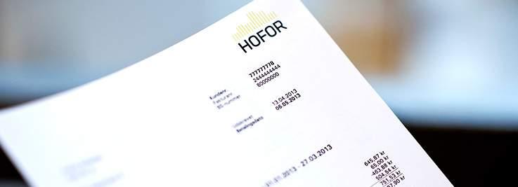 billede af regning fra HOFOR
