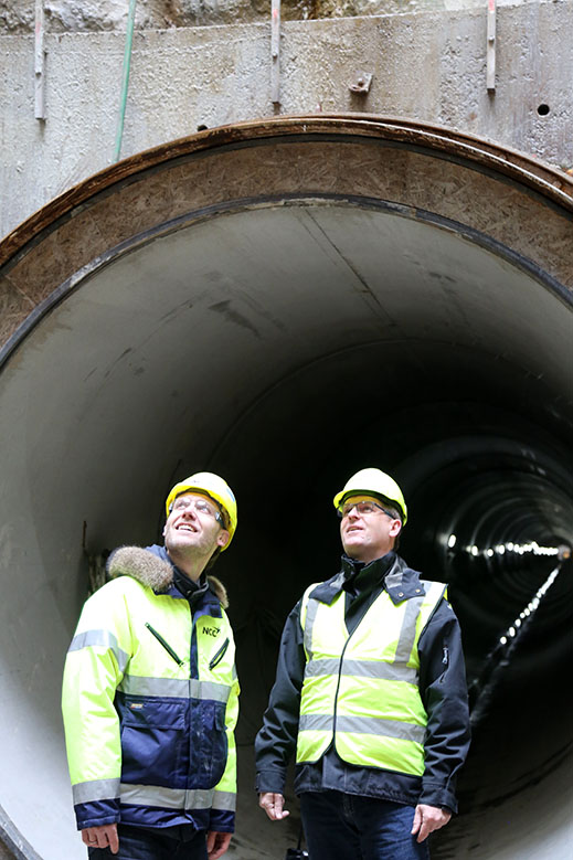 Søren Witt Andersen, områdedirektør i NCC og Søren Birch, projektdirektør i HOFOR.