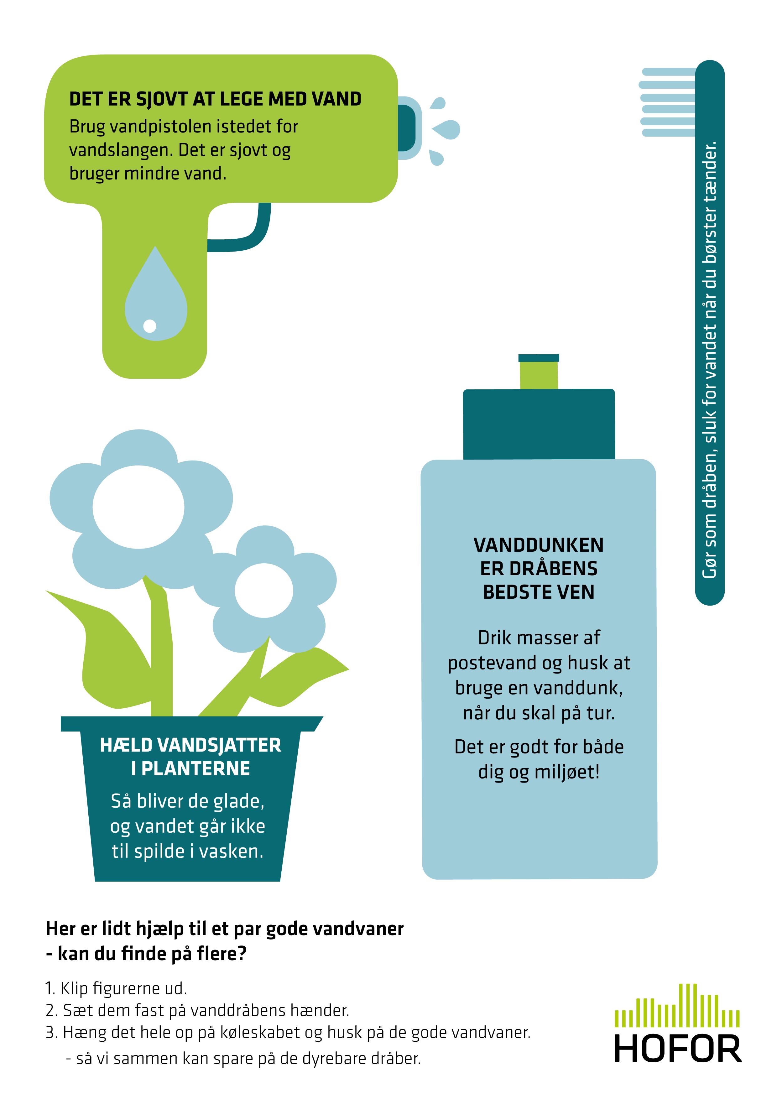 Illustration med vandpistol, tandbørste, potteplante og vanddunk.
